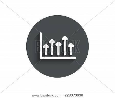 Growth Chart Simple Icon. Financial Graph Sign. Upper Arrows Symbol. Business Investment. Circle Fla