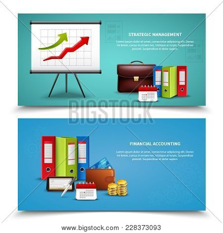 Strategic Management And Financial Accounting Business Banners Set Realistic Isolated Vector Illustr