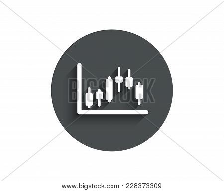 Candlestick Chart Simple Icon. Financial Graph Sign. Stock Exchange Symbol. Business Investment. Cir