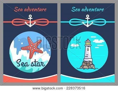 Sea Adventure And Star, Two Color Vector Illustrations With Grey Frame, Sea Wave And Calm Marine Wat
