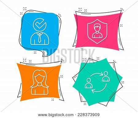 Set Of Security Agency, Woman And Vacancy Icons. User Communication Sign. People Protection, Girl Pr