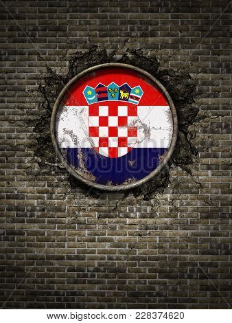 3d Rendering Of A Croatia Flag Over A Rusty Metallic Plate Embedded On An Old Brick Wall