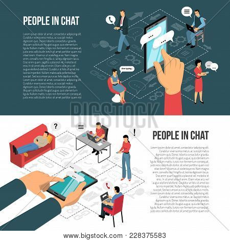 People Chatting Concept 2 Horizontal Isometric Banners With Infographic Elements And Informational T