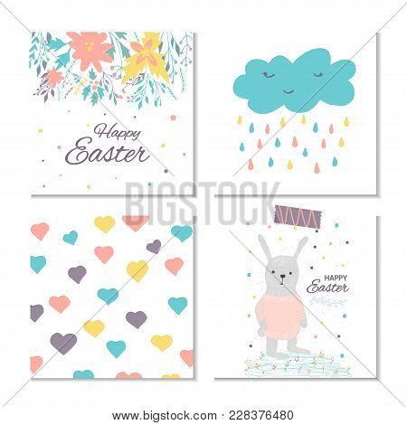 Collection Of 4 Easter Card, Banner Background, Template With Beautiful Spring Flowers, Leaves, Hear
