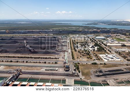 An Aerial View Of Kooragang Island In Newcastle. Coal Exporting Is Big Business Make Newcastle One O