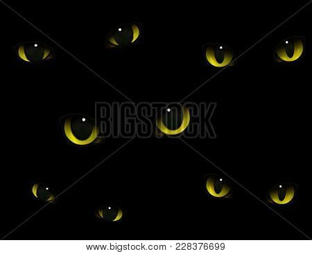 Monster Animals Cats Eyes Glowing In Darkness Realistic Decorative Expressive Composition Black Back