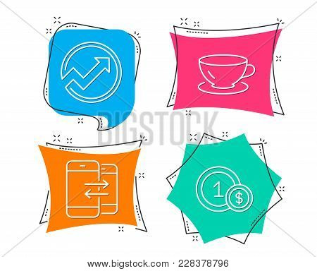 Set Of Audit, Espresso And Phone Communication Icons. Usd Coins Sign. Arrow Graph, Coffee Cup, Incom