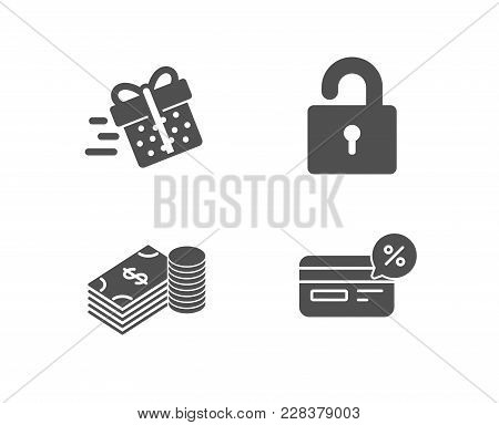 Set Of Lock, Savings And Present Delivery Icons. Cashback Sign. Private Locker, Finance Currency, Sh