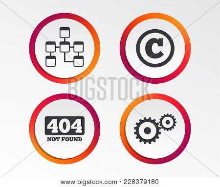 Website Database Icon. Copyrights And Gear Signs. 404 Page Not Found Symbol. Under Construction. Inf
