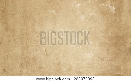 Yellowed Grunge Paper Or Parchment Texture For Background.