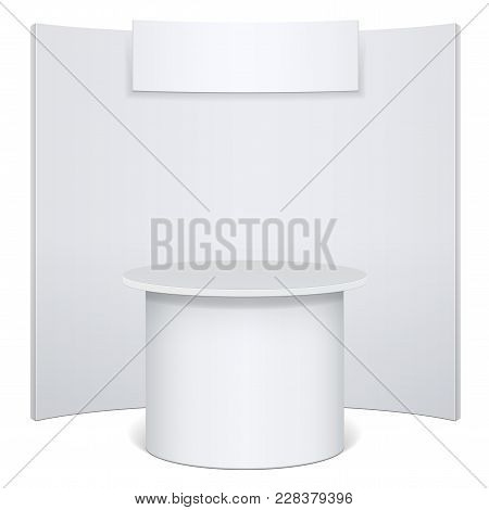 White Reception Or Information Desk. Isolated On The White Background. Mockup Template For Your Desi