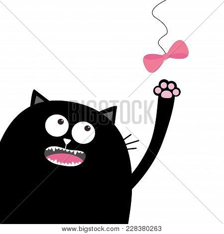 Black Cat Head Looking At Pink Bow Hanging On Thread. Playing Kitten. Paw Print. Cute Cartoon Funny