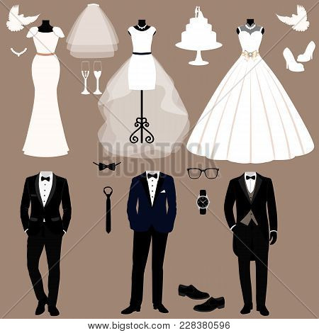 Wedding Card With The Clothes Of The Bride And Groom. Wedding Set. A Set Of Wedding Clothes. Beautif