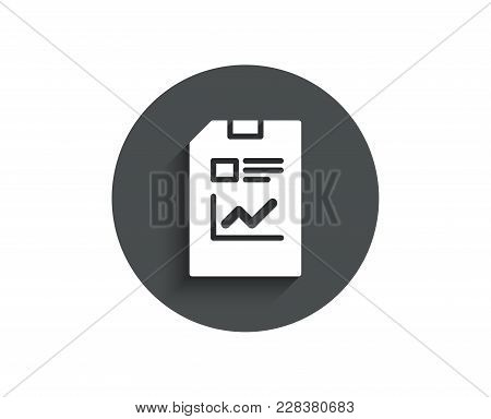 Report Document Simple Icon. Analysis And Statistics File Sign. Paper Page Concept Symbol. Circle Fl