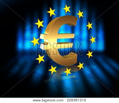 European Union Flag With Golden Euro Currency Symbol , 3d Render