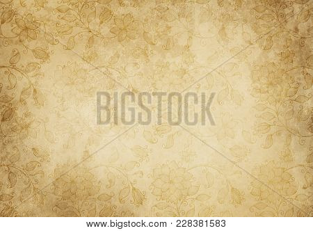 Old Paper With Floral Patterns For Background Design.