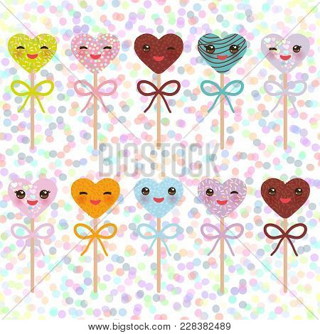 Card Design With Hearts Kawaii Colorful Sweet Cake Pops With Pink Cheeks And Winking Eyes, Cake Pops