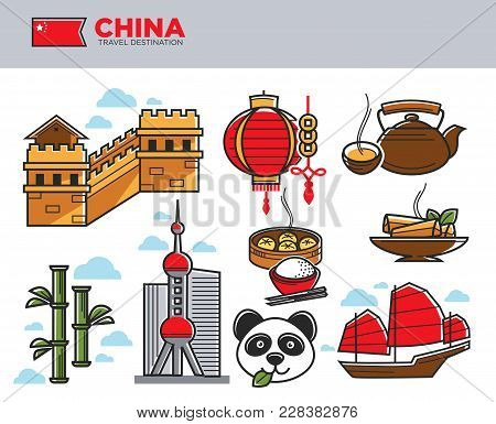 China Travel Landmarks And Chinese Culture Famous Symbols. Vector Chinese Flag Or Paper Lantern, Bei