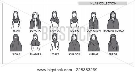 Muslim Woman Hijab Type Models Collection. Vector Isolated Line Icons Of Muslim Modern Fashion Women
