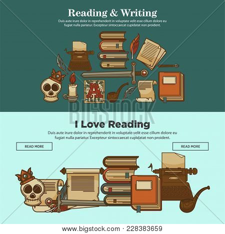 Literature Writing And Reading Posters Of Vintage Books, Typerwriter And Poet Writer Quill Pen And I