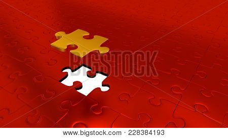 3d Illustration Of Just One Gold Puzzle Piece Above All Other Red Puzzle Pieces With One Missing Pie
