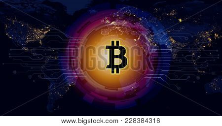 Bitcoin Digital Currency On World Map,concept Of The Global Currency Flow Network