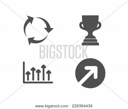 Set Of Recycle, Growth Chart And Award Cup Icons. Direction Sign. Recycling Waste, Upper Arrows, Tro