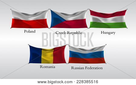 Eps10. Set Flags Of European Countries. Waving Flag Of Poland, Czech Republic, Hungary, Romania, Rus