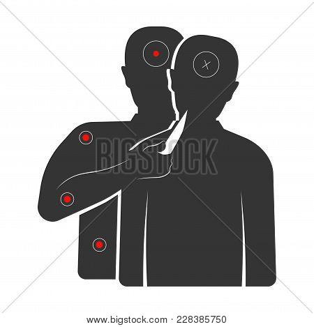 Target With Criminal That Holds Knife And Hostage Silhouettes. Aim For Shooting Gallery And Military