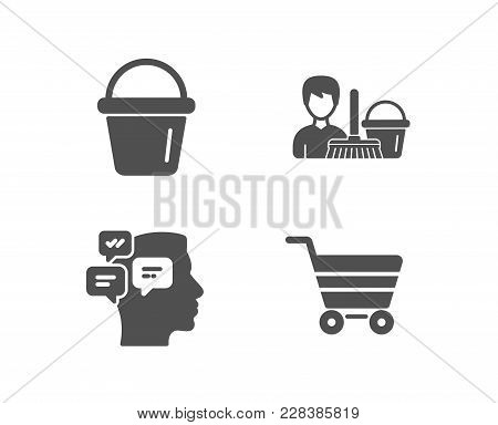 Set Of Messages, Cleaning Service And Bucket Icons. Market Sale Sign. Notifications, Bucket With Mop