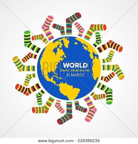 World Down Syndrome Day With Yellow And Blue World And Lots Of Socks Banner Vector Design