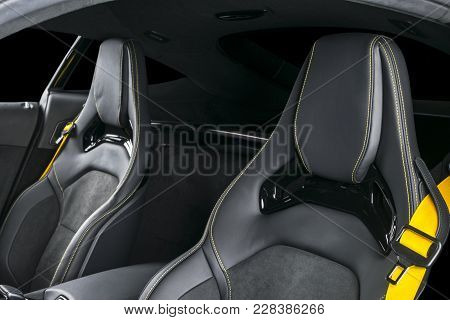 Modern Luxury Sport Car Inside. Interior Of Prestige Modern Car. Comfortable Leather Seats With Yell