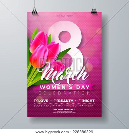 Women's Day Party Flyer Illustration With Tulip Flower Bouquet And 8 March Typography Letter On Pink