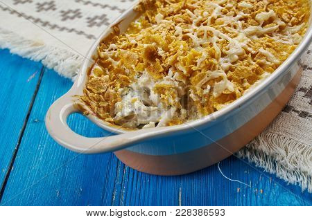 Cod Au Gratin - Appetizer From New Foundland, Canada, Flaked Cod Is Layered With White Sauce, And Sp