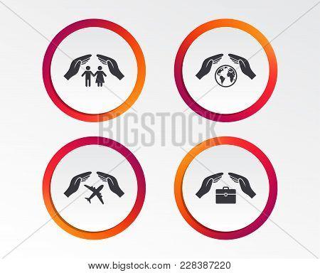 Hands Insurance Icons. Human Life Insurance Symbols. Travel Flight Baggage Symbol. World Globe Sign.