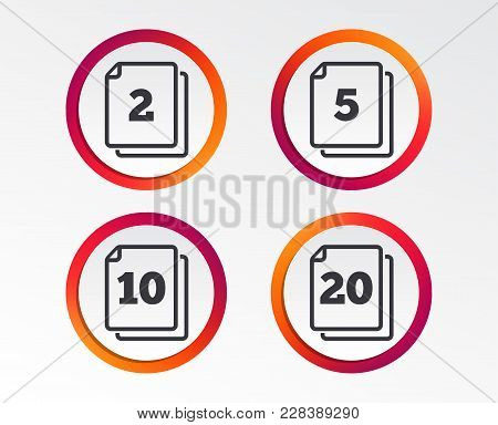 In Pack Sheets Icons. Quantity Per Package Symbols. 2, 5, 10 And 20 Paper Units In The Pack Signs. I