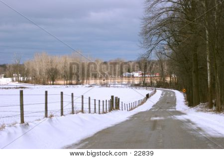 A Contry Road In The Winter