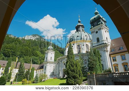Ettal, Germany - September 02, 2010: View To The Ettal Abbey, A Benedictine Monastery In Ettal, Germ