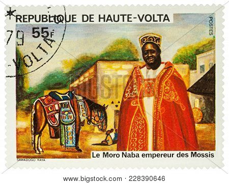 Moscow, Russia - February 24, 2018: A Stamp Printed In Upper Volta (burkina Faso), Shows Moro Naba E