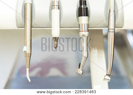 Closeup Of A Modern Dentist Tools, Burnishers And Drills