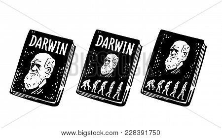 Book Darwin The Theory Of Evolution Of Human. From Monkey To Man. Vintage Black Engraving Illustrati