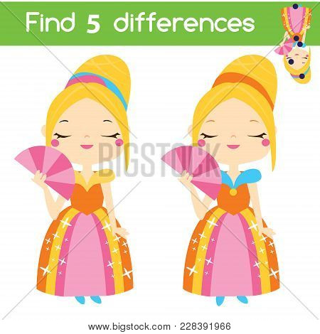 Find The Differences Educational Children Game With Answer. Kids Activity Sheet With Cute Princess