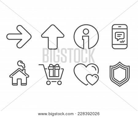 Set Of Message, Next And Shopping Cart Icons. Hearts, Upload And Security Signs. Phone Messenger, Fo