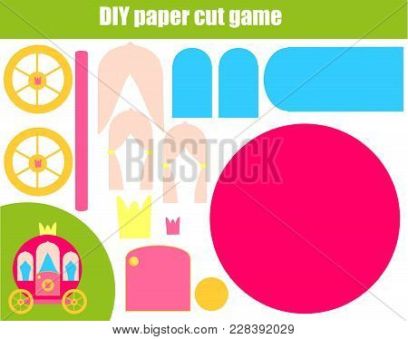 Diy Children Educational Creative Tutorial Game. Paper Cutting Activity. Make A Princess Carriage Wi