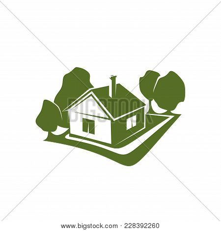 Sign Of House And Trees In Green Colors. Concept Of Ecology And Eco Friendly Buildings. House And Ga