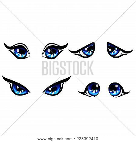 Four Different Emotion For Girl Cute Character, Color Beautiful Illustration, Big Blu Woman Eyes, Ca