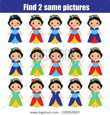 Find The Same Pictures. Children Educational Game. Find Equal Pairs Of Princess. Activity For Toddle