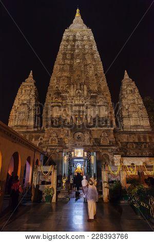Main Entrance In Mahabodhi Temple, To A Diamond Throne, Place Where Buddha Shakyamuni Has Reached An