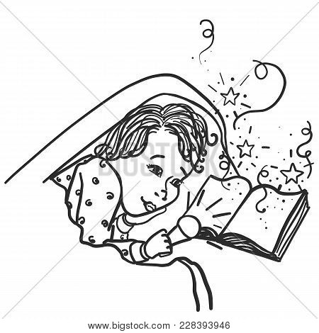 Monochrome Draw Child, Boy Under The Cover At Night, Time To Read, To Dream, Fairy Tale Comes To Lif