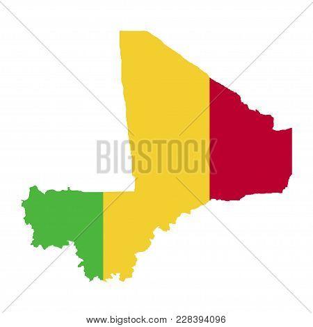 Territory And Flag Of Mali. White Background
